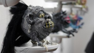 Tim Clarke's Boglin Shrunken Head at Clutter Gallery's Boglins Custom Toy Show exhibition