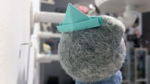 Stitched 2 Exhibition - Heather Gross's Paper Hat Cat (Grey)