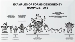 Rampage Toys Designs, inc. Ugly Unicorn, Kaibutsayu Villager Omake, Robocorn, Uglier Unicorn, Manotaur, The Gachapon Goblins, and Ugly Onicorn