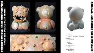 DrilOne's Box of Rust custom blind boxed series, Kidrobot's Munny Accessory: Teddy Bear