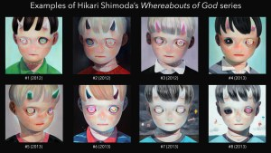 Hikari Shimoda's examples of Whereabouts of God painting series, 2012-2013