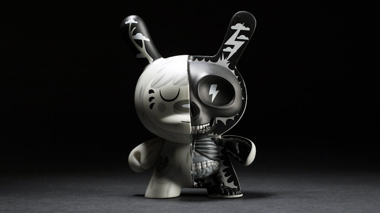 Johnny Draco's Mr. Watt Dunny from Kidrobot, monotone exclusive