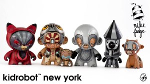 Mike Fudge's custom Munny & Munnyworld figures for Kidrobot NY, circa 2013