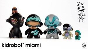 Mike Fudge's custom Munny & Munnyworld figures for Kidrobot Miami, circa 2013