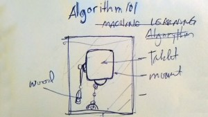 Mike Slobot's Algorithm 101 for the I Love My Robot exhibition, sketch