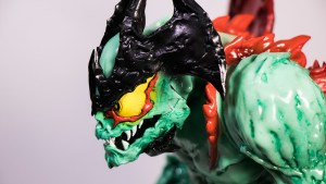Mike Sutfin's Devilman figure from Unbox Industries, side head profile
