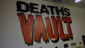Death's Vault logo at Black Sabbath exhibition