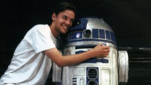 Nathan Hamill with R2-D2 prop, circa Star Wars: The Phantom Menace
