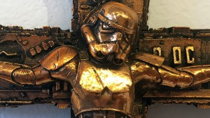RYCA's Crucified Trooper (Bronze) at the Futuretro exhibition