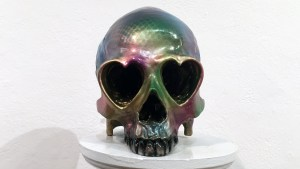 Rampage Toys' Shiny Love Skullikins (Custom Ron English Heart Skull)