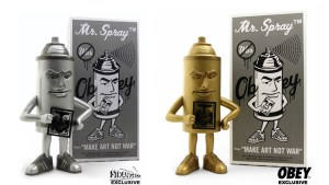 Shepard Fairy's Mr. Spray vinyl figure from StrangeCo, Silver & Gold Editions