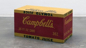 Andy Warhol's Campbell's Tomato Juice sculpture, 1964