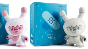 """Squink's Kono the Yeti 8"""" Dunny from Kidrobot, Pink """"Bubblegum"""" & Grey """"1093's Sighting"""" Editions, 2018"""