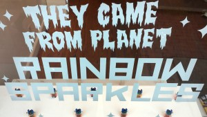 They Came From Planet Rainbow Sparkles - Window Display