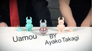Ultra Uamou alongside two regular Uamou figures