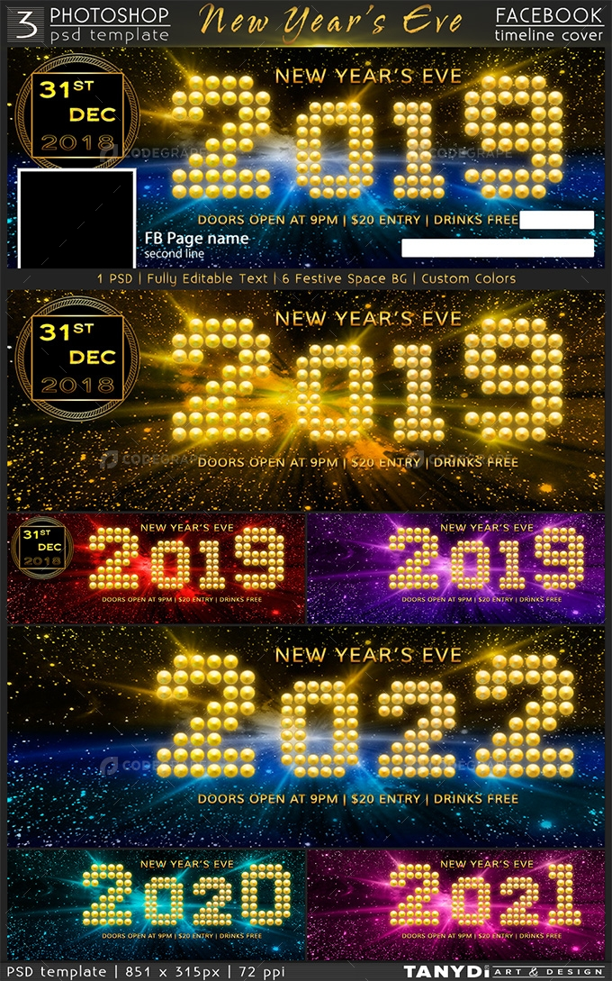 New Years Eve Party  FB Timeline Cover  Graphics