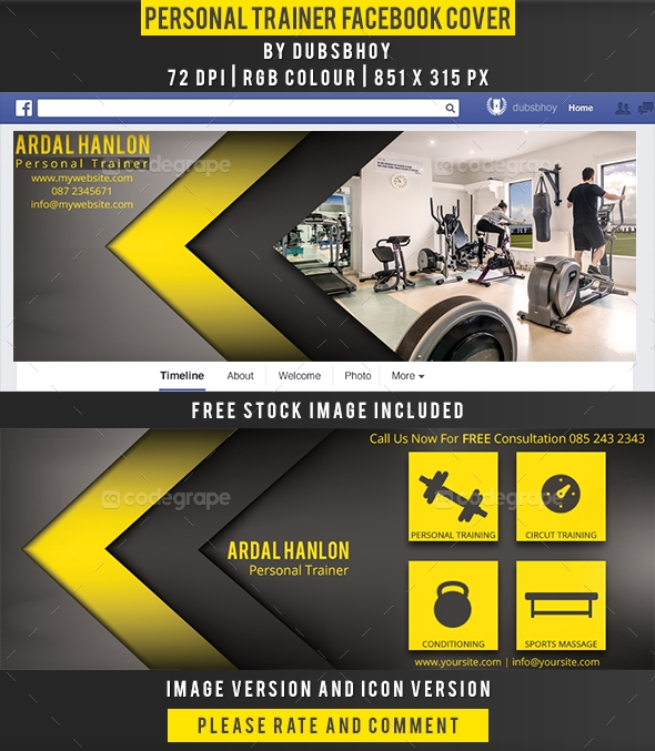 Personal Trainer Facebook Cover  Graphics  CodeGrape