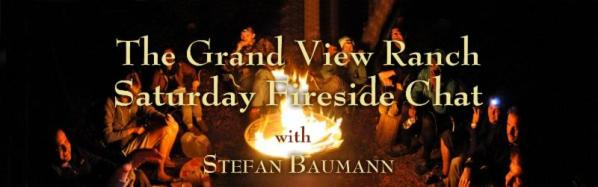 Fireside Chat with Stefan Baumann - title image of Baumann talking with a group of artists around a campfire