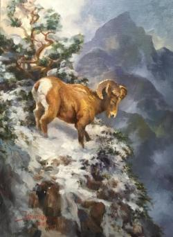 Fireside Chat with Stefan Baumann - image of painting of a rocky mountain goat by Stefan Baumann
