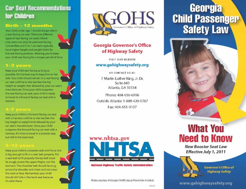 Click The Georgia Child Passenger Safety Law Brochure On Left For Information Laws And Car Seat