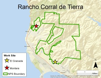 A map of Rancho Corral de Tierra with work areas highlighted with a yellow and red stars