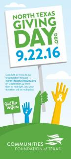 North TX Giving Day – September 22, 2016 – Online giving from 6am to midnight