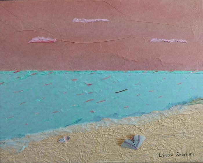 sunrise_ beach and turquoise water_ art made from paper and origami by Linda Stephen