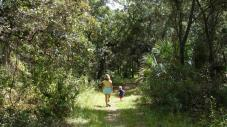 A woman and child walk along a trail in Red Bug Slough Preserve. CREDIT Sarasota County Government
