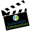 """Illustration of video """"clapboard"""" with """"Sustainable Communities"""" logo"""