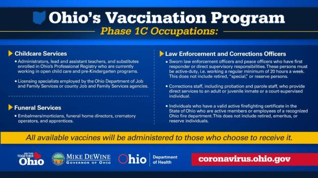 Follow the hyperlink to read the full press release from the Ohio Department of Health on the expanded vaccine eligibility criteria