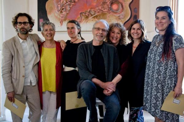Photo by Francesco Da Vinci. Herb Alpert Award in the Arts winners L to R Daniel Fish, Eve Beglarian, Amy Franceschini, Herb Alpert, Lani Hall, Kerry Tribe, luciana achugar