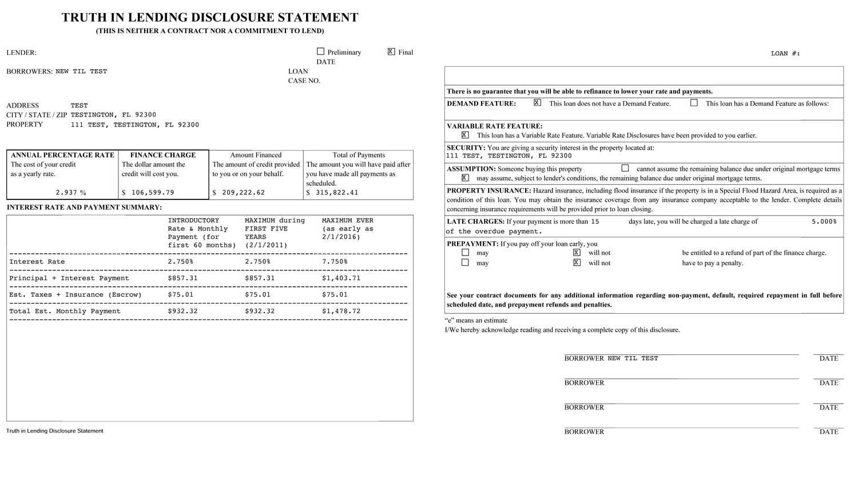 Truth In Lending Disclosure Statement
