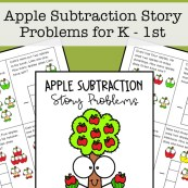 Apple Subtraction Story Problems for Kindergarten - 1st Grade