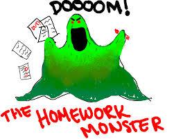 cartoon of a green blob that says doom! the homework monster