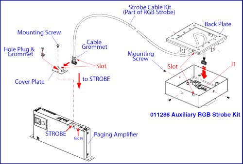 small resolution of connecting the auxiliary rgb strobe kit to the paging amplifier