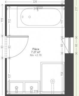 plan salle de bain douche baignoire