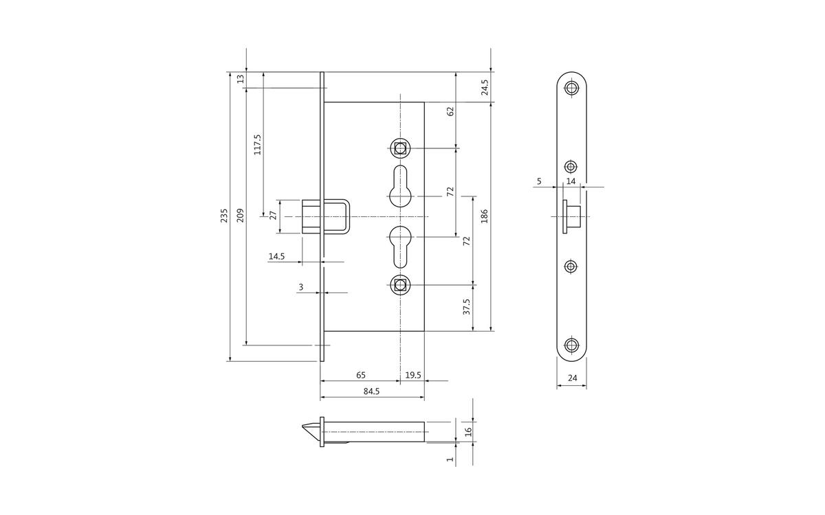 B-1125 fire-protection door lock as single-latch version