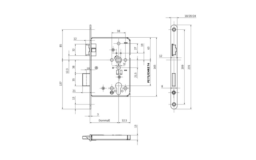 medium resolution of b 1206 fire protection door lock for 1 leaf doors to din 18250 grade 5 gu group