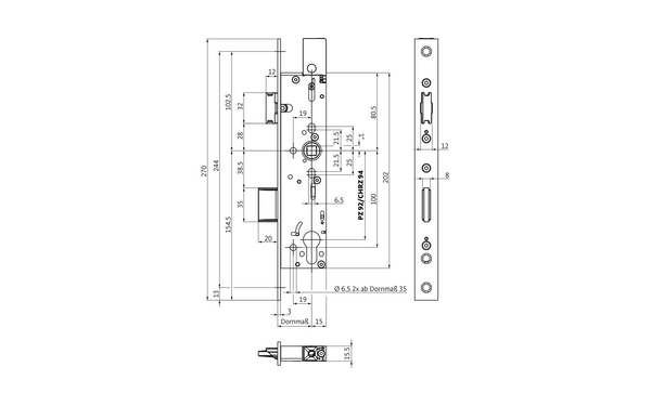 B-1839 fire-protection door lock with top-locking feature