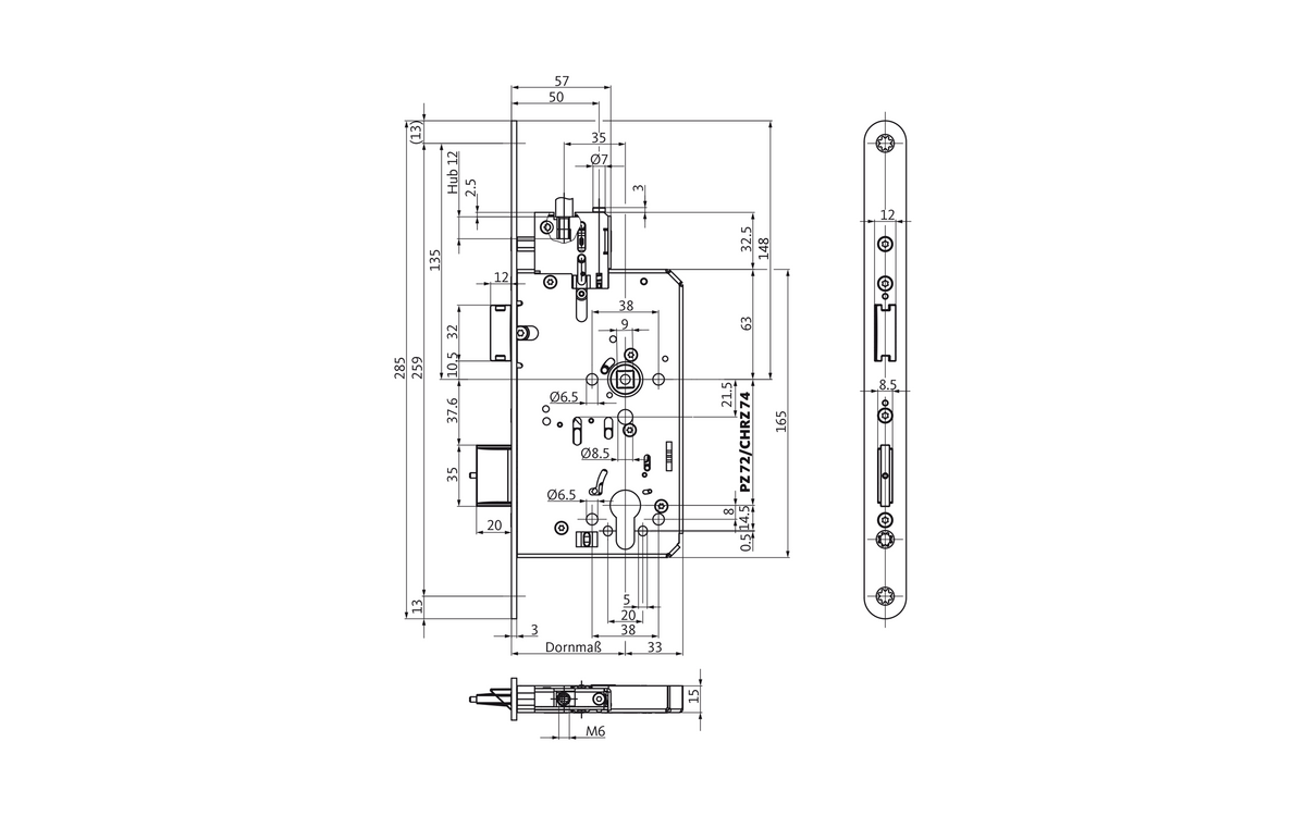 B-2331 panic lock with top-locking feature for 2-leaf