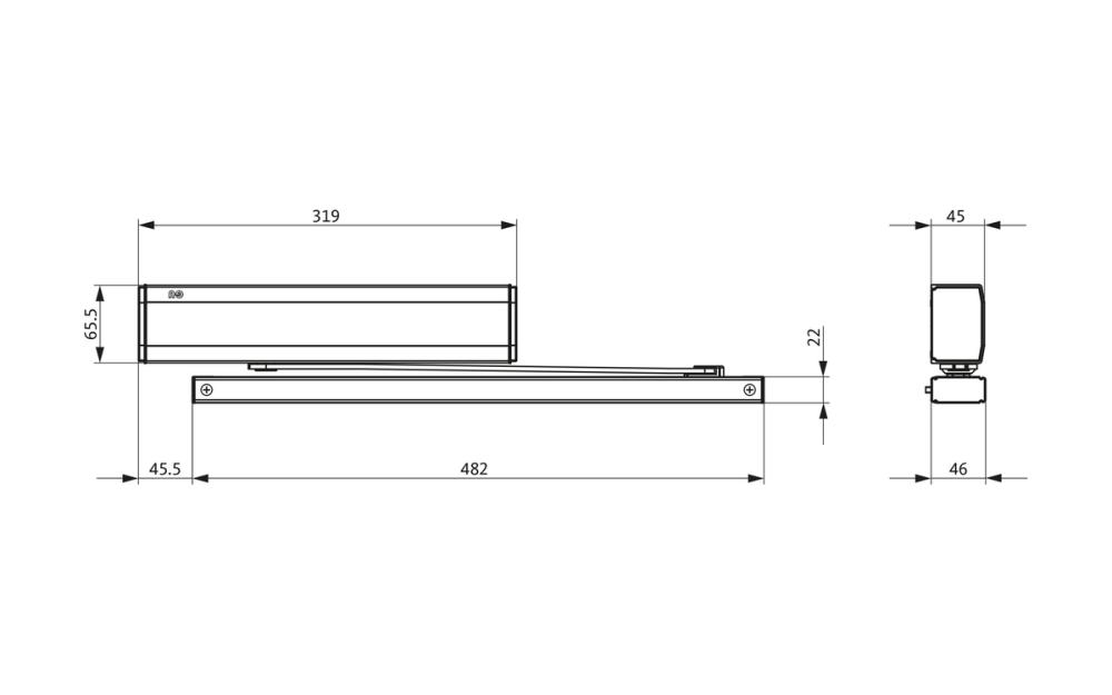 medium resolution of ots 73x fl door closer set with slide rail with free swing function gu group