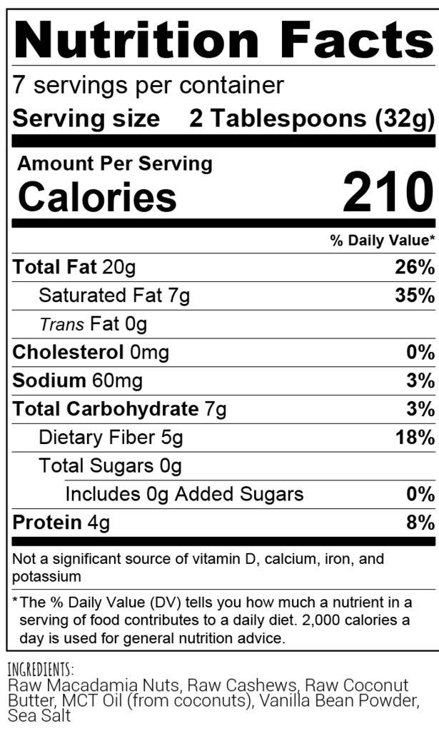 Macadamia Nut Butter Nutritional Information - Nutrition Pics
