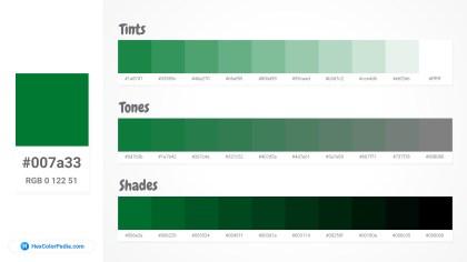 007a33 Tints tones & Shades