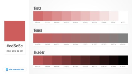 cd5c5c Tints tones & Shades