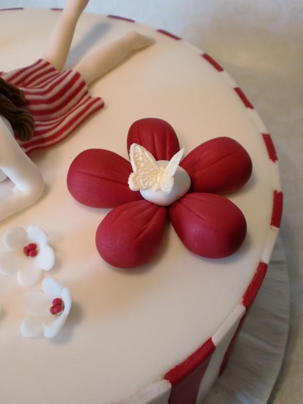Besondere Anlsse 1  rot wei gestreifte Torte zur Konfirmation