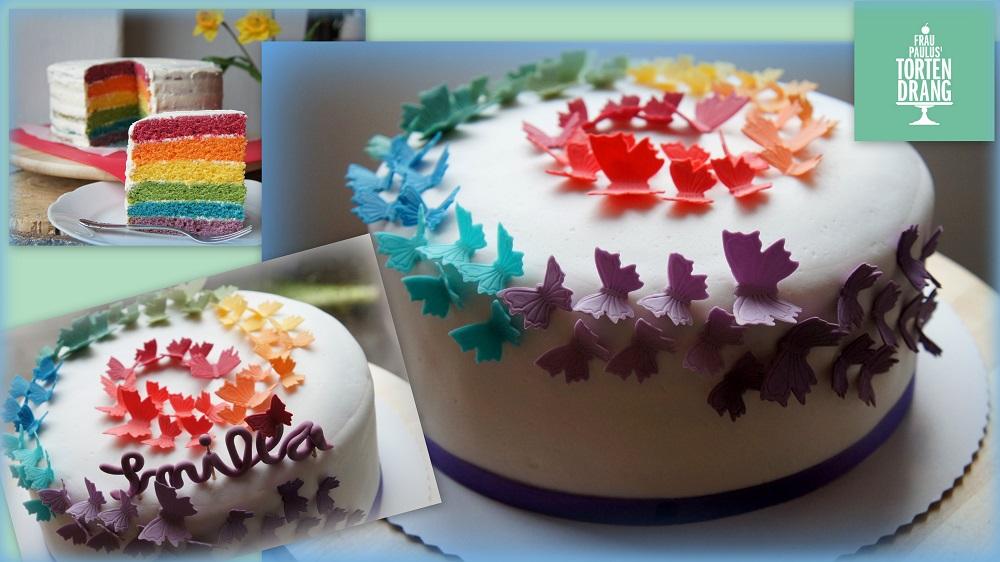 Innen und auen bunt  Regenbogenkuchen gegen den Winterblues