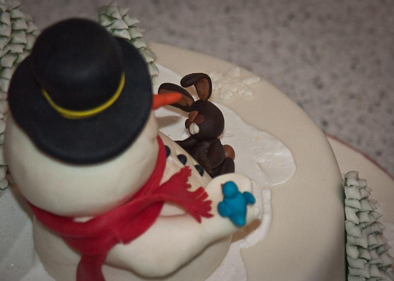 GeburtstagKinder  Schneemann Winter Kuchen