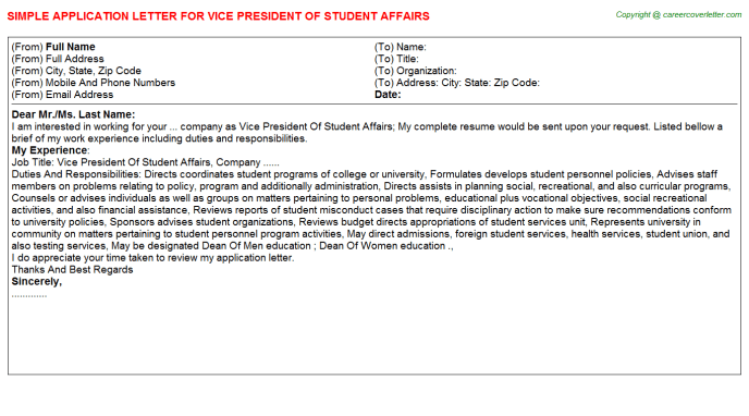 vice president of student affairs cover letter