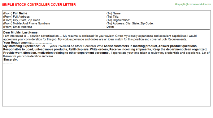 Stock Controller Cover Letters Samples  Cover Letter Samples