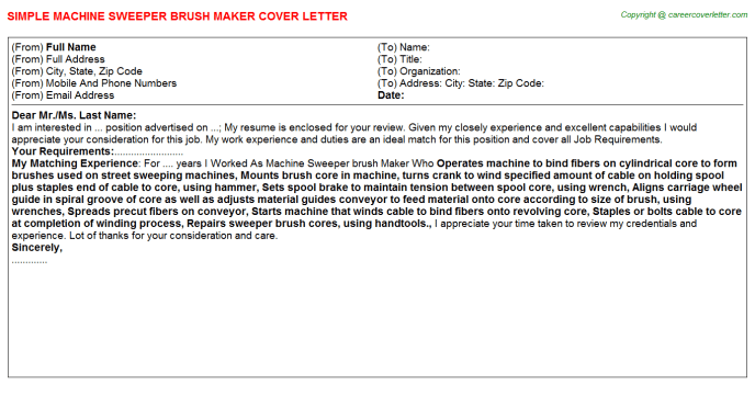 Sweeper Cover Letters